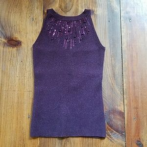 Cache beaded sequin tank top